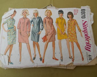 """Sewing Pattern, One Piece Shirt-Dress Simplicity, Vintage Sewing, To fit Size 18 Bust 38"""" (UK)"""