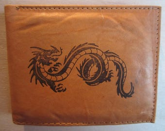 Mankind Wallets Men's Leather RFID Blocking Billfold w/ 'Dragon/Serpent' Image-Makes A Great Gift!