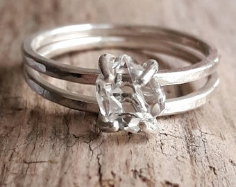 herkimer diamond and sterling silver ring set silver wedding ring set quartz crystal bridal - Bohemian Wedding Rings