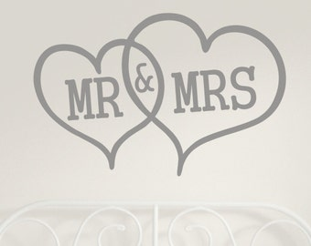 Mr and Mrs Bedroom Wall Sticker Decal H741K