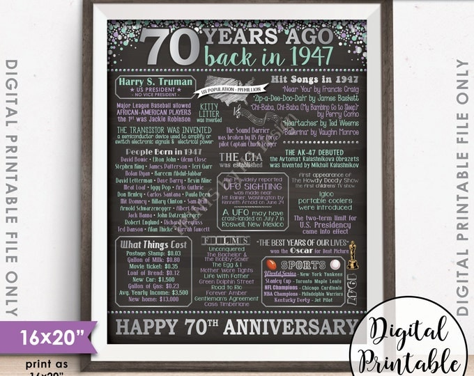 """70th Anniversary Gift 1947 Poster, 70 Years USA Flashback Instant Download 8x10/16x20"""" Married in 1947 70th Chalkboard Style Printable Sign"""