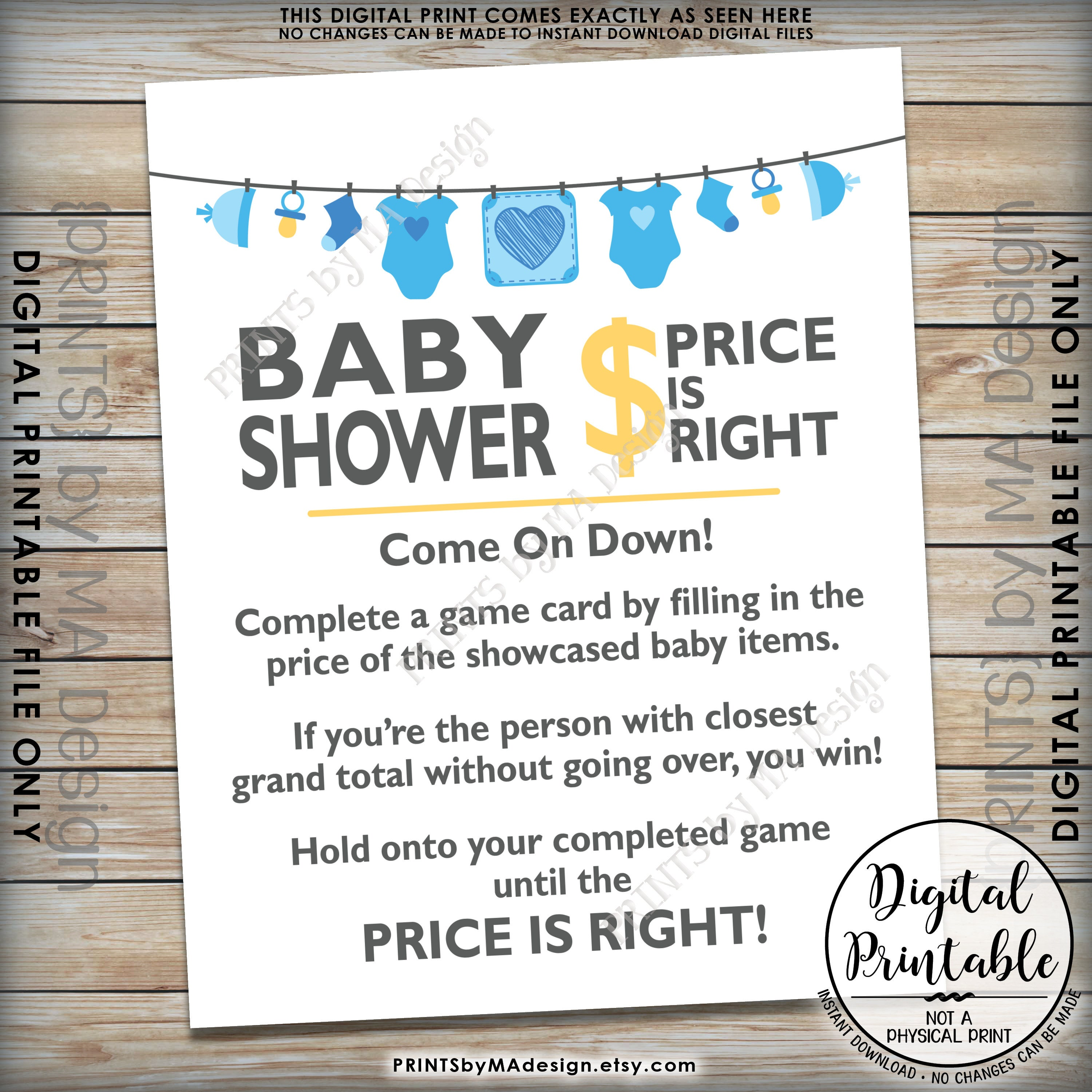 price is right baby shower game sign guess the prices activity price