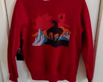 Crewneck sweatshirt with Native American graphic