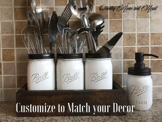 Kitchen Organization Mason Jar Kitchen Utensils Holder Utensils Holder Mason Jar Kitchen Decor