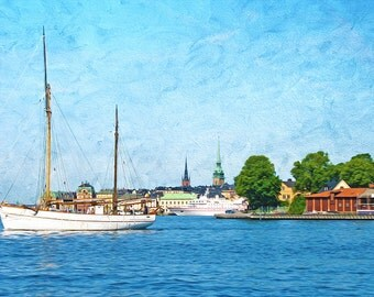 Sweden Travel Art, Stockholm Sweden Architecture, Baltic Sea Print, Nautical Art Print, Sail Boat, Travel Photography, Fine Art Photography