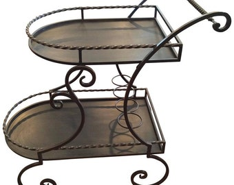 Wrought Iron Rolling Tea or Bar Cart