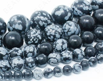 """Snowflake Obsidian Beads Natural Gemstone Round Loose - 4mm 6mm 8mm 10mm 12mm - 15.5"""" Strand"""