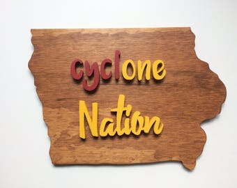IOWA state Cyclones / Iowa Shaped Cutout,  Wood Sign Wall Hanging Decor ISU, CycONE Nation