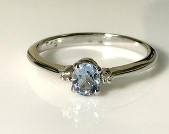 AQUAMARINE DIAMOND RINGS , sterling silver aquamarine ring ,March birthstone , engagement ring , gold aquamarine ring,natural aquamarine