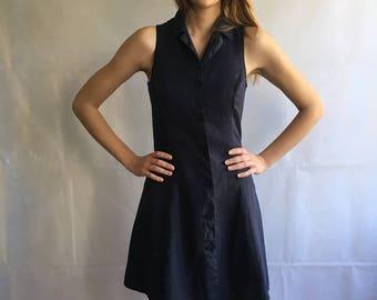 Vintage Midnight Blue Sleeveless Bitton Up Linen Flax Mini Dress