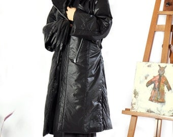 Long Black Waterproof Coat/Winter warm long Coat/Asymmetric winter coat/Two pockets/Zipper coat/Winter comfortable coat/Unique coat/C0246