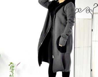 Dark Gray Warm Lined coat/Long winter Jacket/Quilted Cotton Woman Jacket/Outside pockets/Wool hood/Hooded gray coat/Zipped jacket/C0247