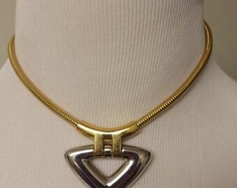 Vintage Trifari Choker Necklace Gold-Toned Serpentine Chain Silver-Toned Triangle Pendant