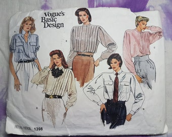Vogue 1398 Basic Pleat 90s Shirt Vintage Sewing Pattern Size 16