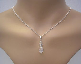 Veronica ~ Clear Crystal Teardrop necklace, Silver plated chain, Vintage style (v91)