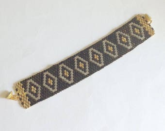 Brown gold avory Diamond bracelet, beading band bracelet with seed beads