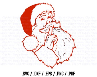 Santa Claus Clipart, Winter Christmas Wall Art, Santa SVG File for Vinyl Cutters, Screen Printing, Silhouette, Die Cut Machines - CA371