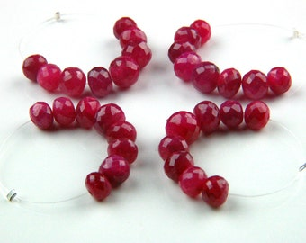 8x Genuine Ruby Rubies Laser Micro-Faceted Large Rounded Rondelle Beads Gemstones Opaque Lush Red Natural Stones July Birthstone 6mm to 8mm