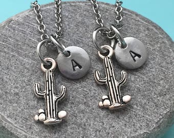 Best friend necklace, cactus necklace, western necklace, bff necklace, sister, friendship jewelry, personalized, initial, monogram