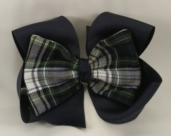 Southern Size School Uniform Plaid Hair Bow - White plaid
