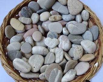 Beach stones set. 100 different sizes and color Beach pebbles. Beach rocks.