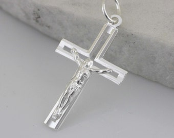 Silver Cross Necklace,Mens Cross Necklace, Crucifix Cross Pendant, Modern Silver Cross Necklace, Silver Crucifix Necklace, Light Cross