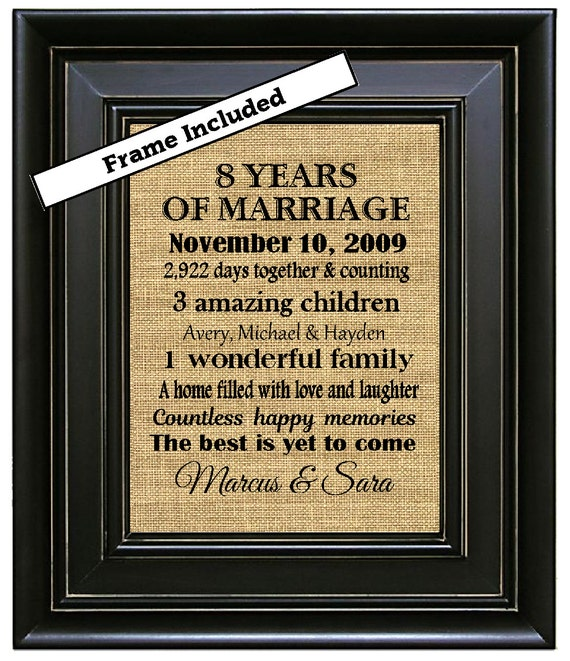 FRAMED 8th Wedding Anniversary Gift/8th Anniversary Gifts/8