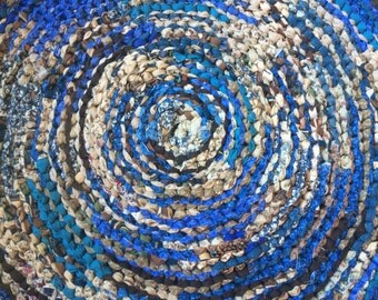 Brown and Blue Rag Rug