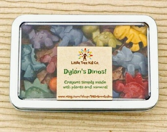 Dinosaur Crayons! Earth friendly with personalized label. Ready to gift, perfect stocking stuffers!
