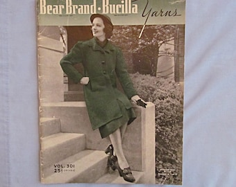 Knitting Pattern Book, Women's Coats, Dresses, Sweaters, Suits, Housecoat, Bear Brand 1937