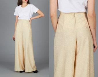 Vintage 70s Small Gold Lurex High Waist Wide Leg Pants