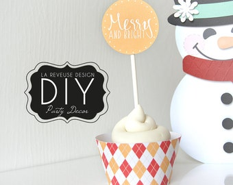 DIY Printable Merry Cupcake Wrappers & Toppers (Digital File): do it yourself print and cut desert decor, argyle, winter - LRD020DD