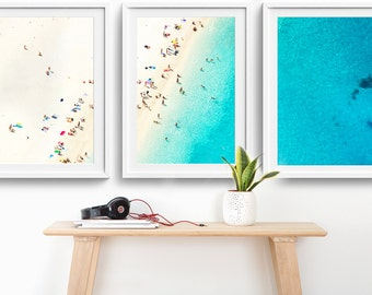 NEW! Framed 3-Piece Triptych Mediterranean Photo Print Set // Aerial Beach Photography // Sunbake People Summer //