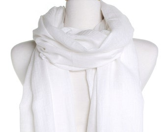 Ivory Modal Scarf / Soft Wool Touch / Plain Blanket Shawl / Warm Autumn Fall Scarf / Gift For Her / Wedding Wrap / Bridesmaid Favors Idea