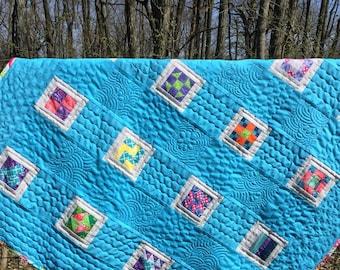 Handmade quilt, lap quilt, baby quilt, sampler quilt, homemade blue quilt, handsewn, genuine kentucky product