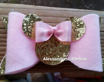 pink and gold minnie mouse glitter bow, pink amd gold first birthday outfit, minnie mouse cake smash outfit, pink minnie glitter bow