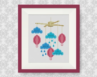 BUY 2, GET 1 FREE! Baby Announcement Cross Stitch Pattern, Air Balloon, Customisable Cross Stitch Pattern, Newborn cross stitch, #P272