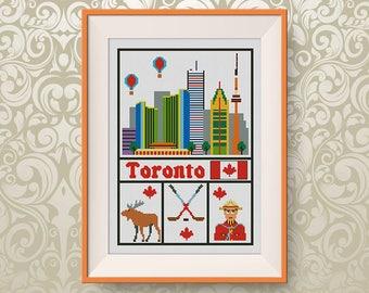BUY 2, GET 1 FREE! Toronto cross stitch pattern, Instant Download, Travel cross stitch pattern, pdf, Canada cross stitch pattern, #P282