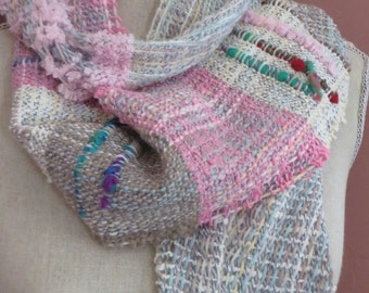 Saori Scarf wrap, Handwoven Unique Accessory in pinks,greens and textured weaves.
