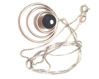 Vintage ND 925 sterling silver onyx necklace