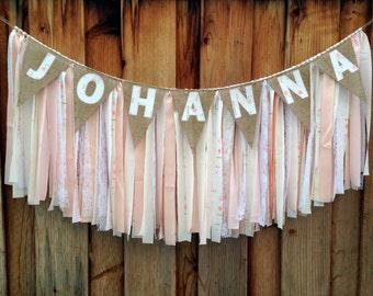 Peach & Pink Shabby Chic Garland, Fabric Banner, Nursery Garland, Nursery Decor, Baby Shower Banner, Baby Shower Decor, Shabby Chic Decor