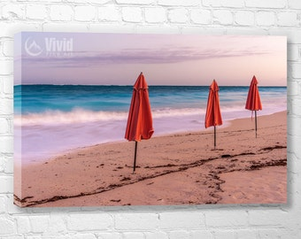 Beach art, multi panel canvas, Grace bay, Turk and Caico, peaceful wall art, wall decor for den, pink and blue, ocean artwork, 12x20 48 inch