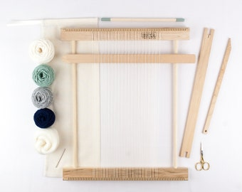 "14"" Weaving Loom Kit / Everything you need to make your own woven wall hanging / Moss and Navy"