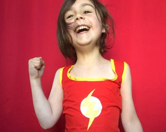 The Flash dress for little kids - red poplin with yellow and white accents