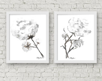 GICLEE PRINTS, Set of Two, Cotton Stems, Cotton Boll, Cotton Plant Watercolor Print, Print for Sale, Austin, Texas