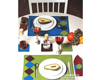 Placemats, Drink Coasters & Napkin Rings Easy Crochet Pattern for Beginners Vintage 60s Table Dining Decor PDF Instant Download SKU 49-11