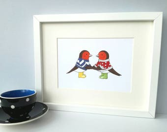 Robin print, colourful bird print, robins in rainbow colours picture, rainbow robins