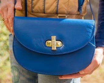 Vintage Italian Leather Royal Blue Crossbody Purse with Gold Metal Turn-Key Latch