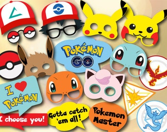 Digital Pokemon Photo Booth Props, Printable Pokemon Go Party PhotoBooth Props, Instant Download Pokemon Birthday Party Props 0417