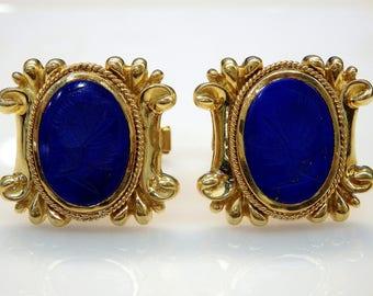 18k Yellow Gold Engraved Cameo Warrior Lapis Lazuli Cufflinks